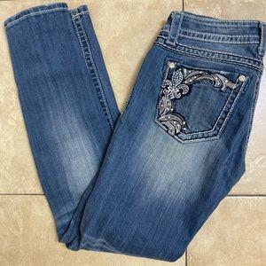 Miss Me Ankle Skinny jeans size 27 Fleur De Lis